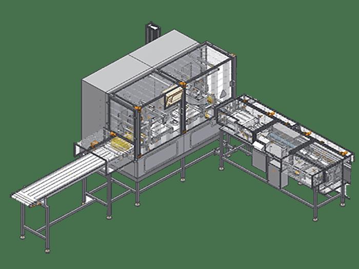 Автоматическая линия с ультразвуковым лезвием и системой позиционирования порций в контейнеры модель LPRU02